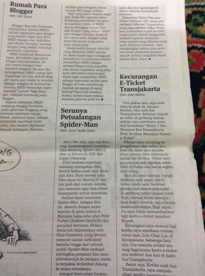 MENULIS DI KORAN TEMPO MELALUI INDONESIANA