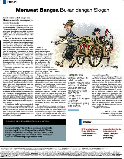 MERAWAT BANGSA, BUKAN DENGAN SLOGAN (Kompas Siang,14 Agustus 2013)